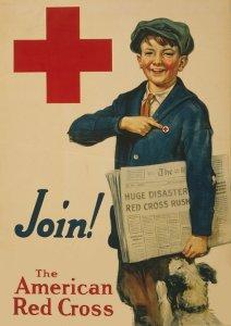 Amerikansk avisdreng med Røde Kors emblem