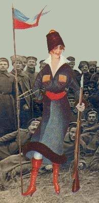 Russisk pige i soldater uniform
