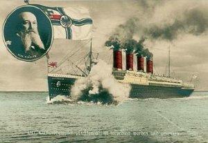 Tysk postkort hvor Lusitania bliver torpederet