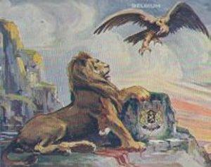 Den belgiske løve bliver angrebet af den tyske ørn