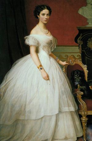 Maleri af Dagmar skildret i en storslået kjole