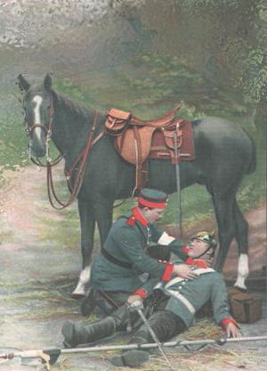 Døende tysk dragon med hesten bag sig