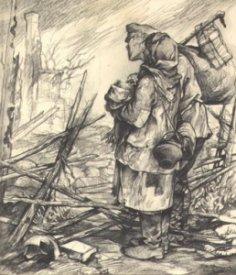 Flygtninge tegnet af en tysk soldat på Østfronten, - 1941