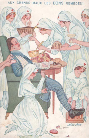 fransk soldat plejes af mange sygeplejersker