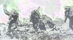 Billed taget af en engelsk soldat i dødsøjeblikket