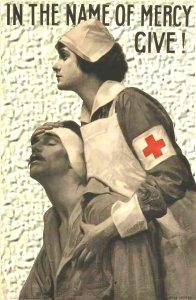Røde Kors søster med såret soldat
