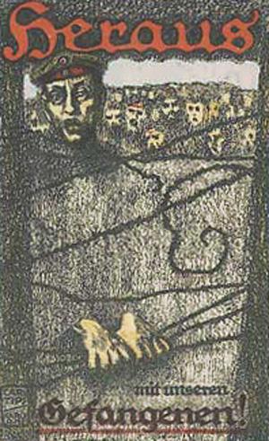 Kunstnerisk skildring af tyske krigsfanger bag pigtråd