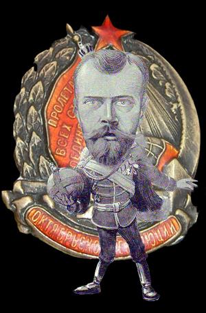 Nicolai foran en badge fra Oktober Revolutionen