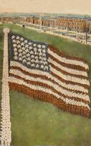 Amerikanske flag dannet af mænd
