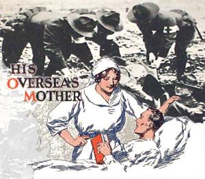 Såret soldat i seng plejes af sygeplejerske