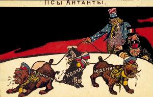 En russisk fremstilling af Vestmagterne, der udnytter landet