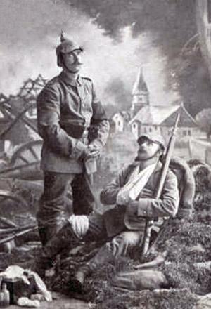 Tysk soldat sammen med en såret
