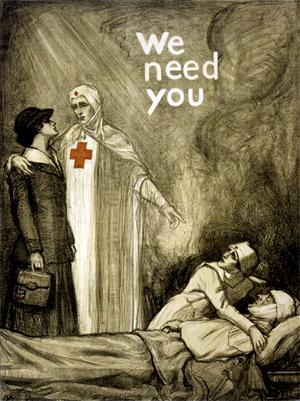 Røde Kors hverve plakat efter kvindelige sygeplejere