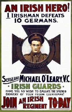 Engelsk hverveplakat, med irsk VC helt