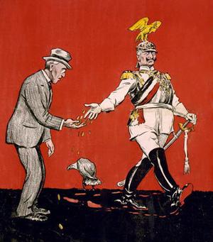 Humoristisk tegning fra 1916. hvor WQilhelm giver Woodroow småpenge