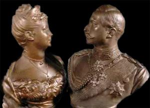 Torsoer af metal af Wilhelm II & Augusta