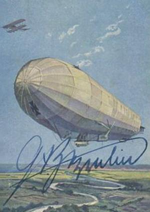 Zeppelin billede underskrevet af Ferdinand Zeppelin