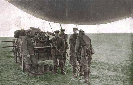 Tysk mandskab og vogn til observations ballon