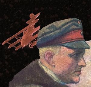 Tegning af Manfred von Richthofen og hans røde fly
