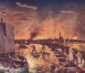Et tysk propaganda postkort med en brændende engelsk by