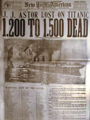 En avisforside, som fortæller om Titanics forlis