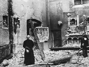 Den ødelagte kirke i Termonde