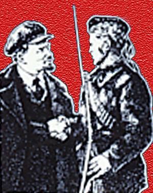 Lenin hilser på soldat fra den Røde Hær