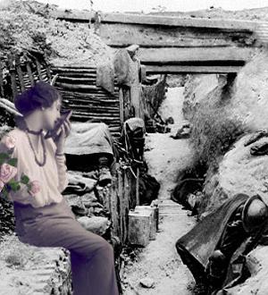 Sørgende kvinde i skyttegrav