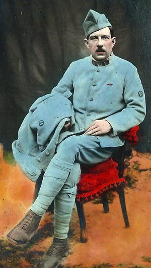 En fransk soldat - et tinted billede