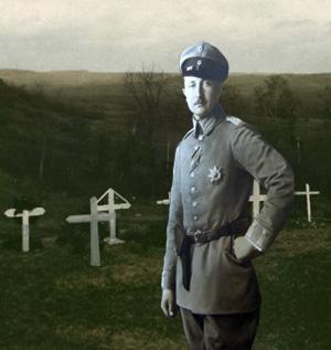 Den tyske Kronprins foran nogle grave i Argonne