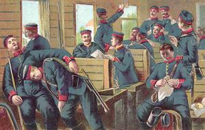 Tyske soldater i et tog tog