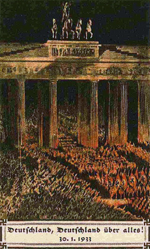 En afbildning fra et postkort af fakkeloptoget på dagen