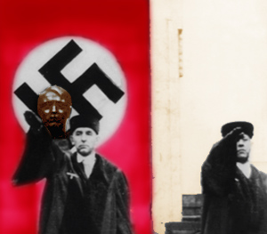 Freisler viser den nazistiske hilsen