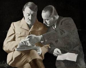 Farvelagt billede af Hitler med en bog