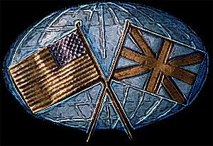 Engelsk og amerikansk flaf dækkende jordgloden