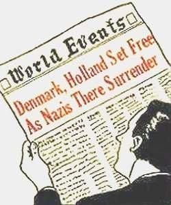 En avislæser læser om Danmarks befrielse (engelsk)