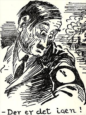 Hitler vittighed - hvor hagekorset er et ur visende 5 minuter i tolv
