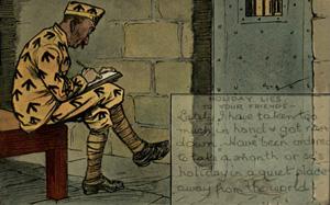 En fange skriver et brev hjem og siger han er på ferie