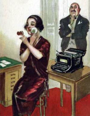 En ung kvinde ved en skrivemaskine - tegningen er fra 1926