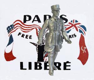 Charles de Gaulle  statuette foran en befriet Triumfbue i Paris