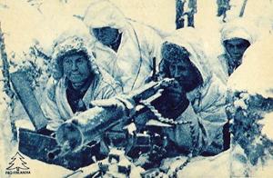 Finske soldater farvelagt i Finlands farver