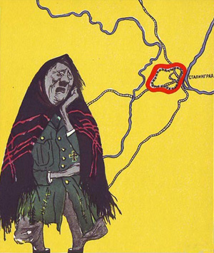 Rød propaganda fra 1943, hvor Hitler frygter Stalingrad