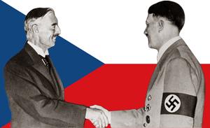 Hitler og Chamberlain giver hinanden hånden