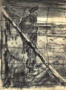 En tegning fra koncentrationslejren Buchenwald af Henri Pieck