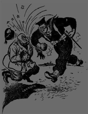 Humoristisk tegning af Mussolini, der får klø