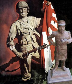 Togo statuette foran amerikansk soldat