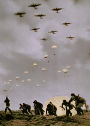 Tyske faldskærmssoldater i luften og landing
