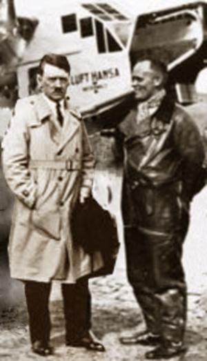 Hans Baur og Adolf Hitler foran et Lufthansa fly