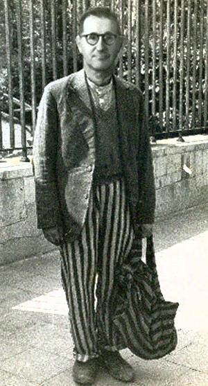Et redigeret billede af Brecht som flygtning