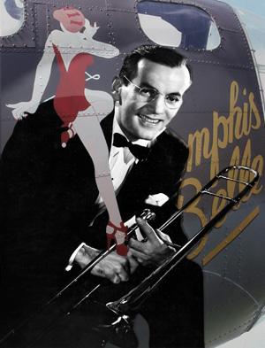 Et billede af Glenn med Memphis Belle i baggrunden